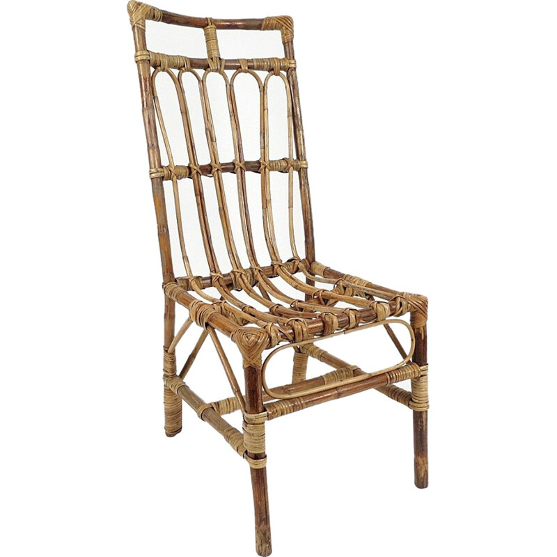 Set of 6 hand made rattan chairs - 1970s