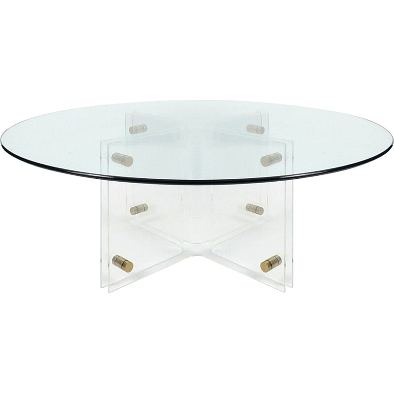 Perspex and glass top coffee table - 1970s