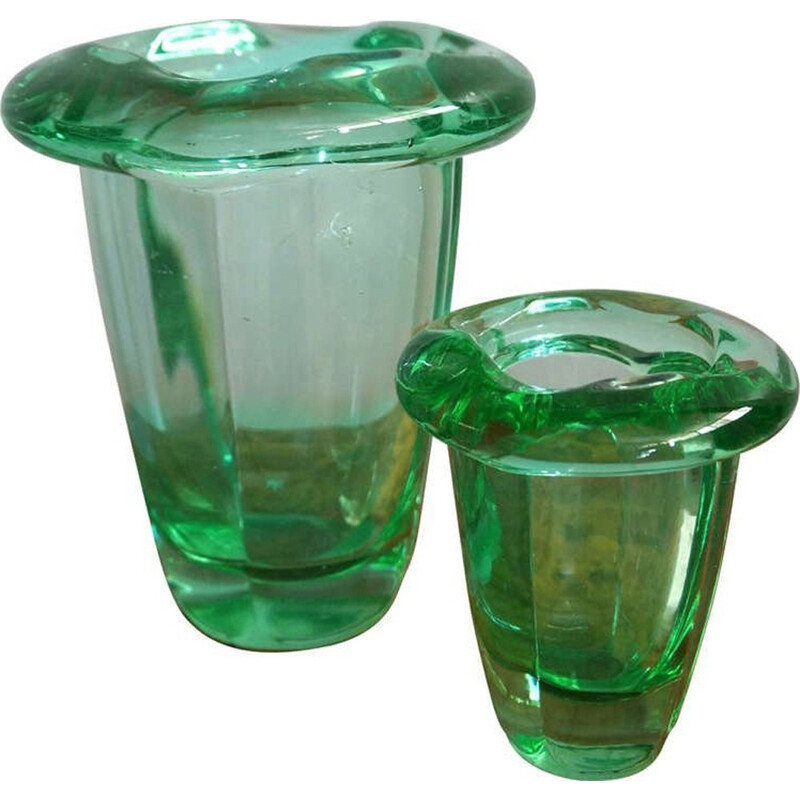 Pair of green vases in crystal produced by Daum - 1950s