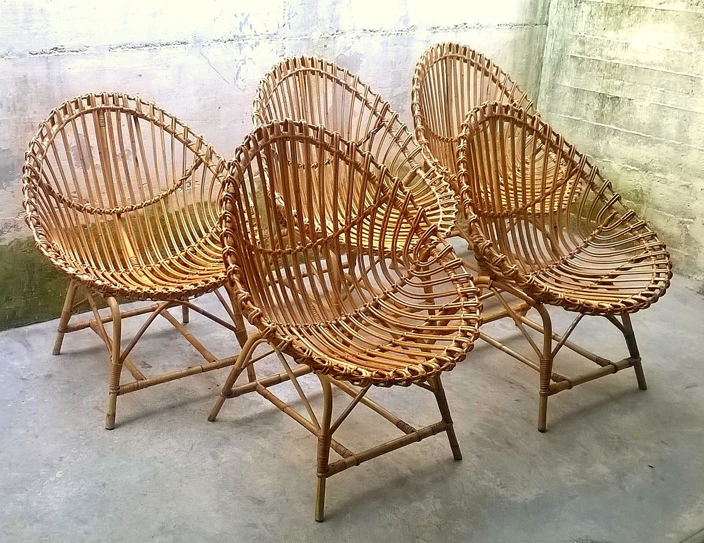 set of 5 rattan egg shaped chairs 1950s design market