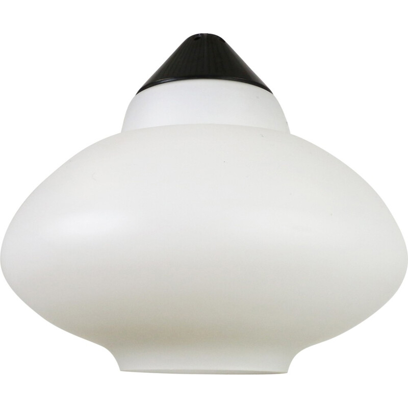 Black and white milk glass pendant by Philips Holland - 1960s