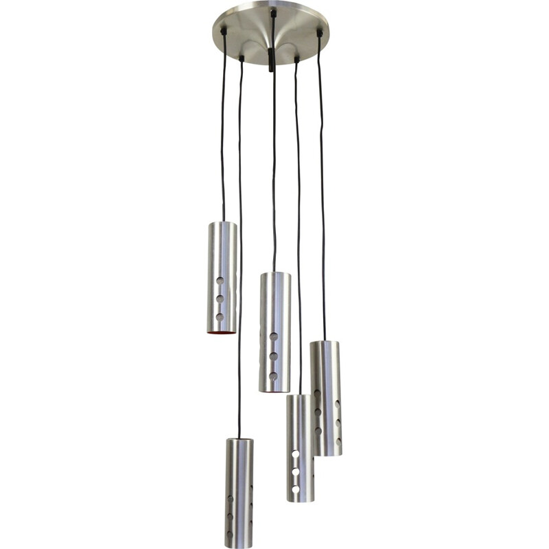 Pendant light with 5 cascading cylinder lights - 1960s