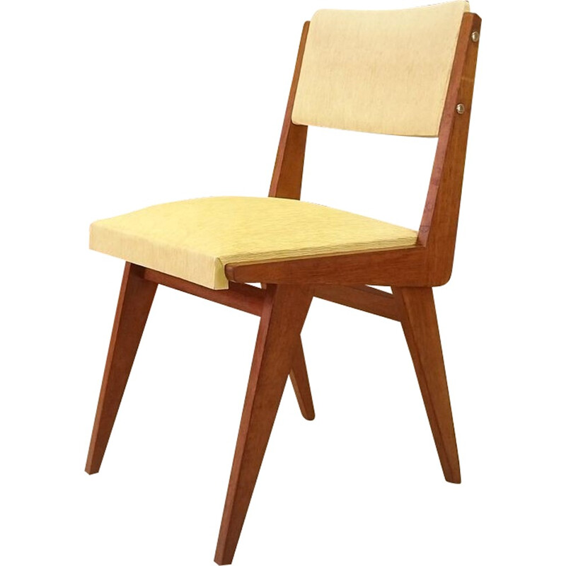 Set of 4 yellow vintage chairs in wood and leatherette  - 1950s