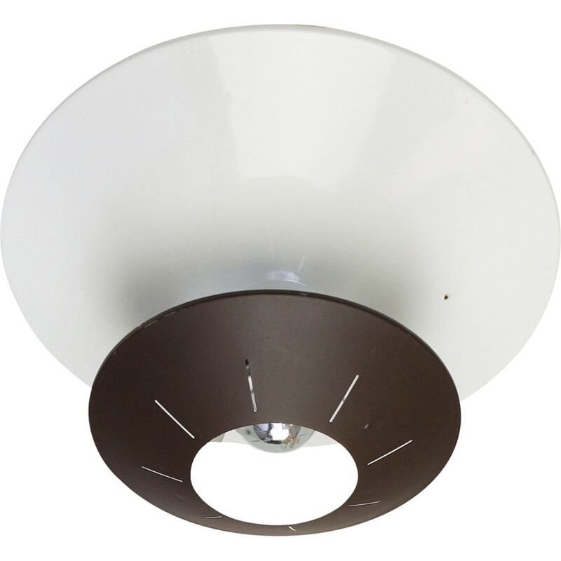 Dark Brown Space age ceiling light by Louis Kalff for Philips - 1950s