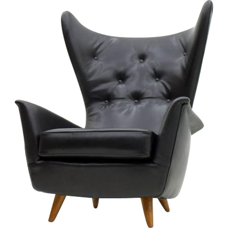 Set Of 4 Black Leather Wing Lounge Chairs   1950s