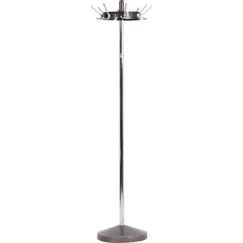 Standing Coat Rack in Chrome, Black and Silver Grey - 1960s