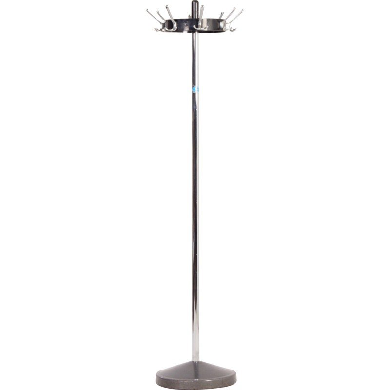 Standing Coat Rack In Chrome Black And Silver Grey
