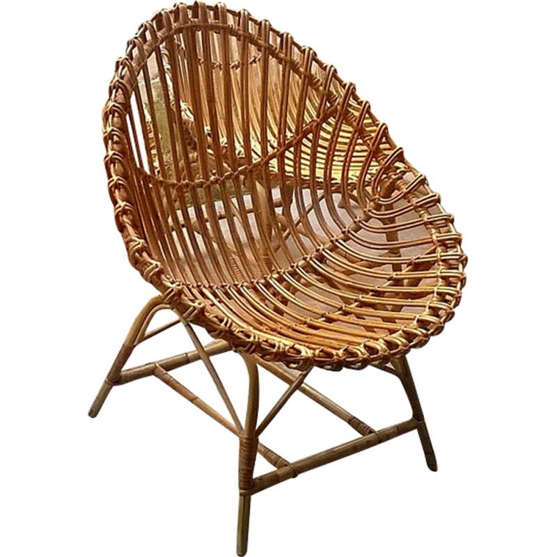 Set Of 5 Rattan Egg Shaped Chairs   1950s