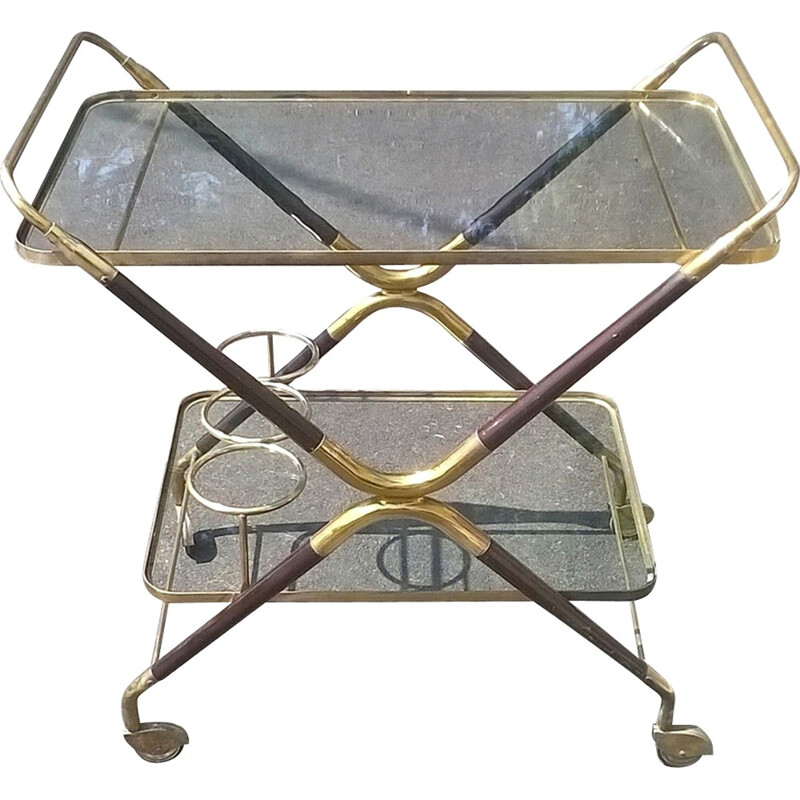 Beech wood serving bar cart by Cesare Lacca - 1950s