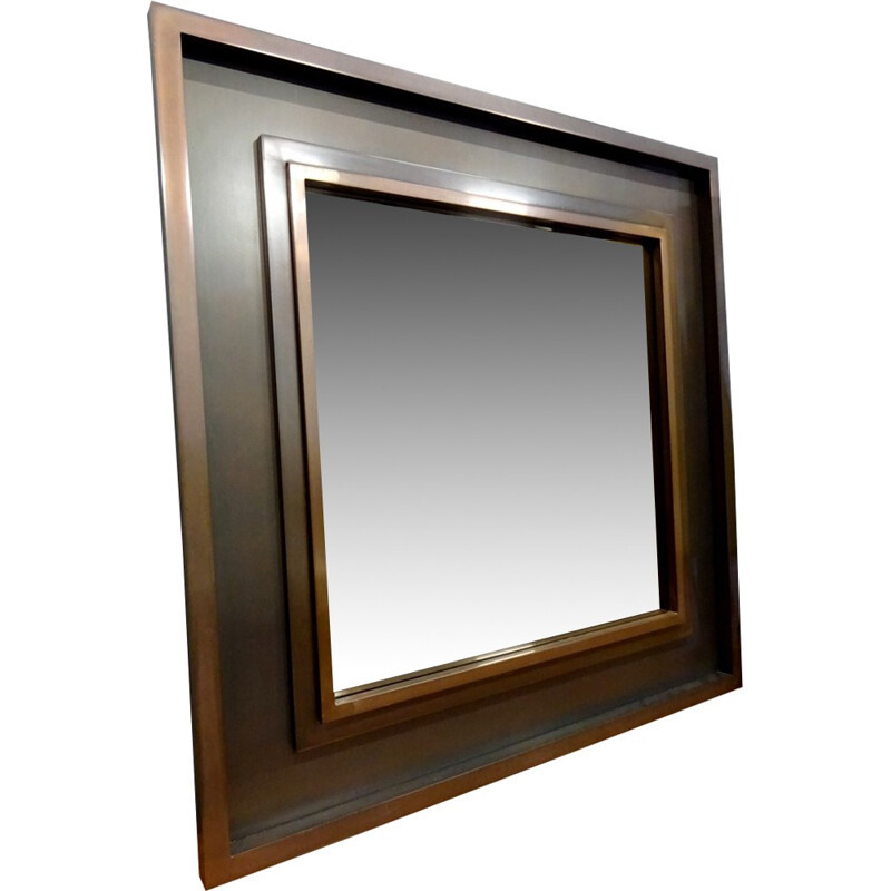 Large tinted square mirror - 1970s