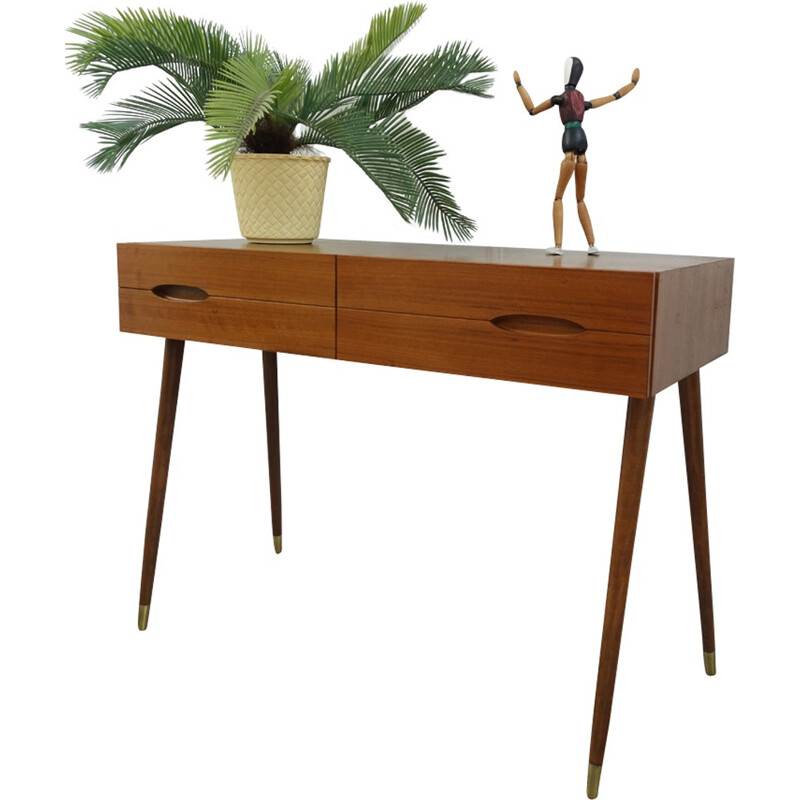 Teak danish hall sidetable with drawers - 1960s