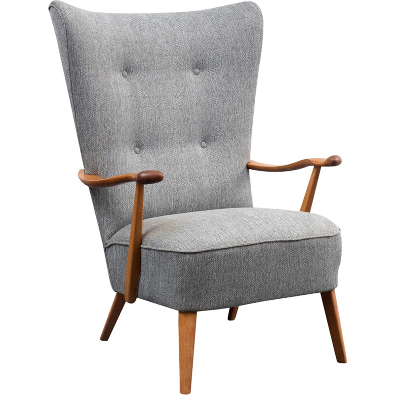 Grey wing armchair with sold walnut structure - 1950s