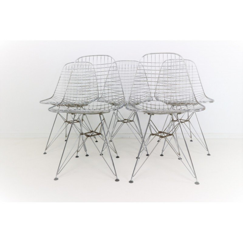 Set Of 5 Eames DKR Eiffel Base Wire Chairs For Vitra   1970s   Design Market