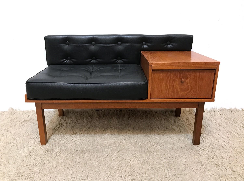 Mid Century Hallway Chippy Telephone Seat Table 1960s