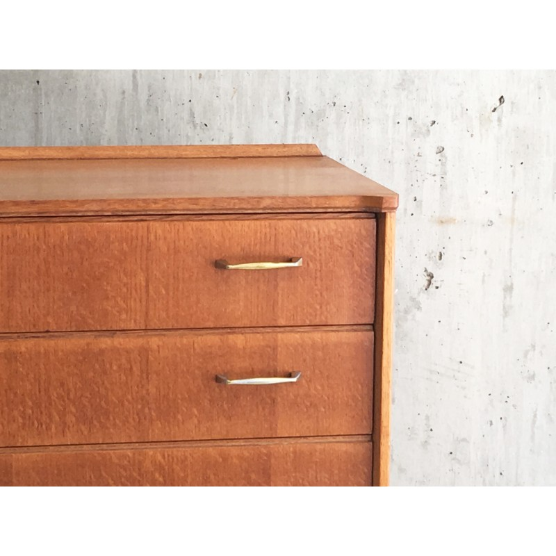 Lebus Link Mid Century Teak Chest Of Drawers With Br Handles 1960s Design Market