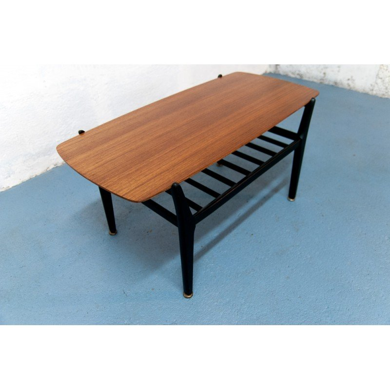 Nathan Scandinavian coffee table with magazine rack 1960s Design