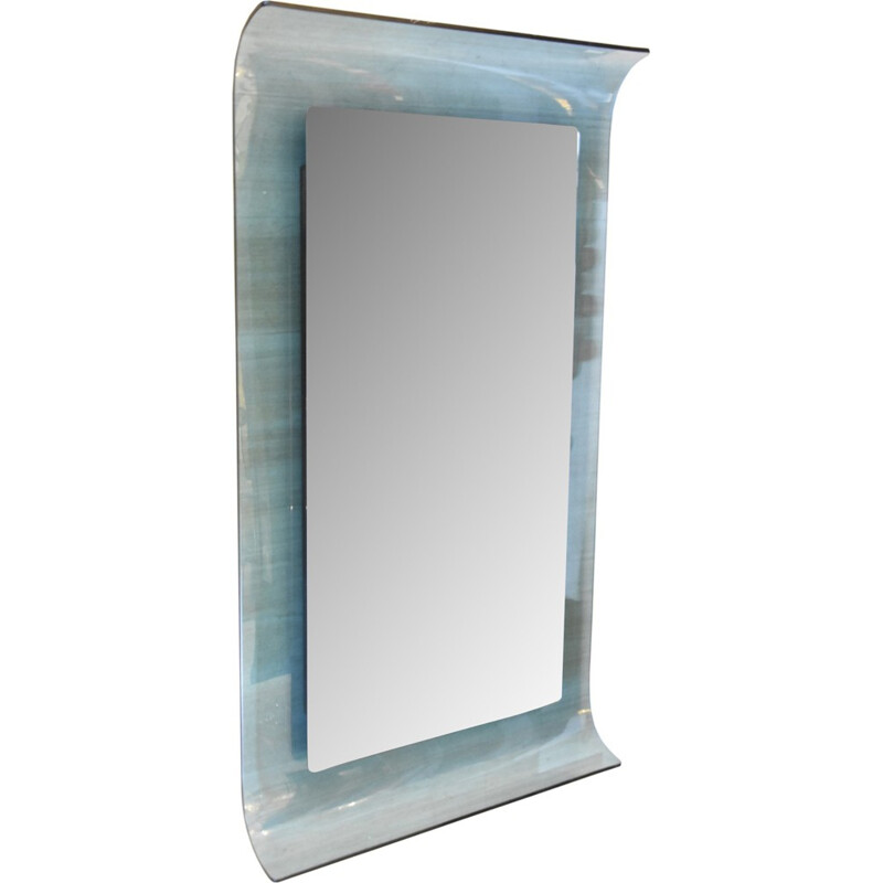 A Curved blue crystal glass mirror by Santambrogio and De Berti - 1960s