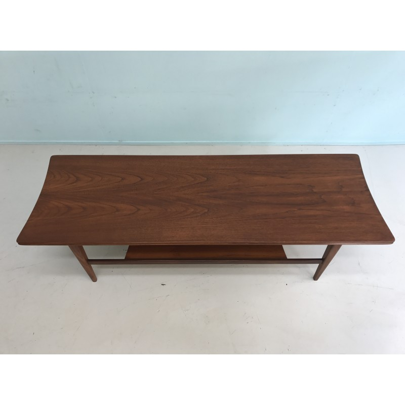 Mid Century Teak Coffee Table With Magazine Rack 1960s