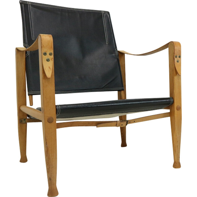 Pair of black leather armchairs Safari by Kaare Klint - 1950s