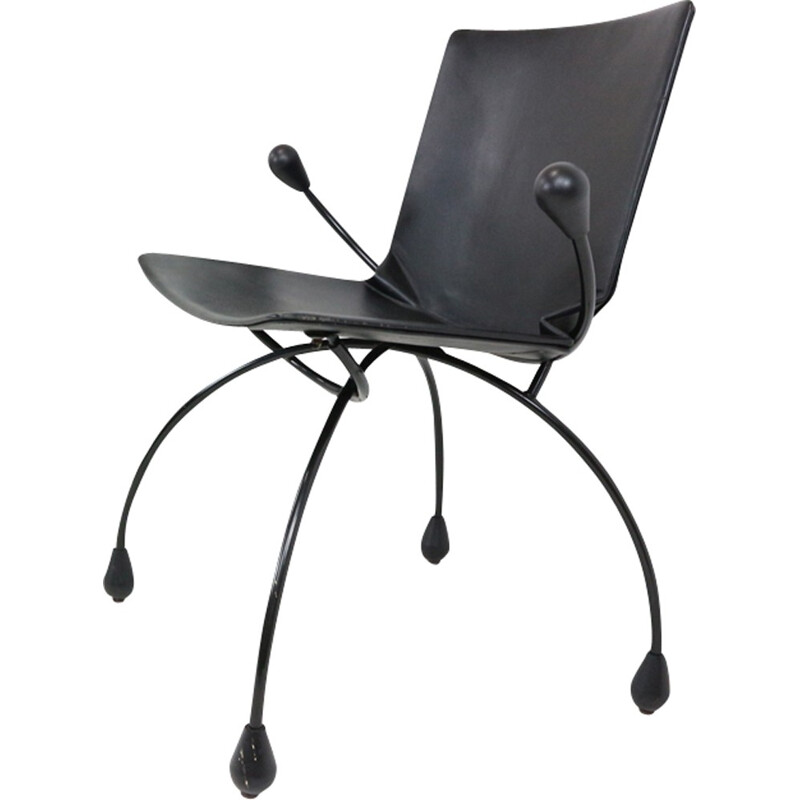 Black leather easy chair model Funky - 1980s