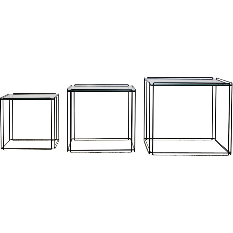 Set of 3 graphical isocele nesting tables by Max Sauze for Atrow - 1970s