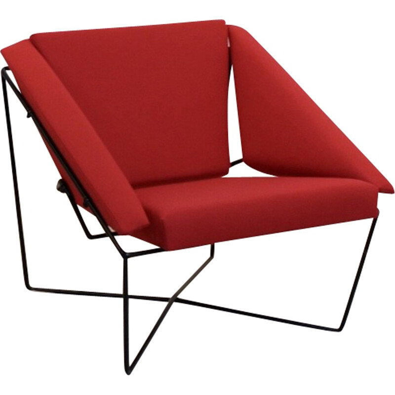 Sculptural pair of Van Speyk red easy chairs in wool and steel by Rob Eckhardt - 1980s