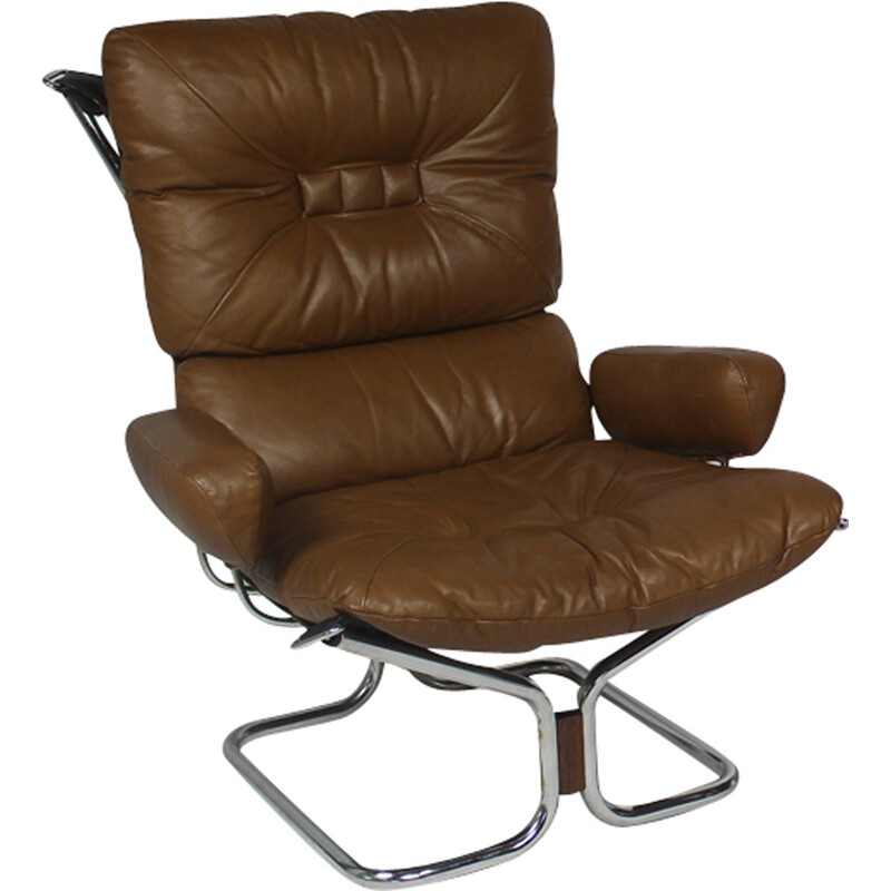 Rosewood and leather lounge chair by lngmar Relling and manufactured by Westnofa - 1970s