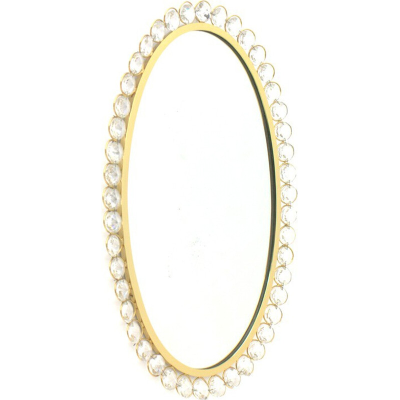 Palwa Mirror with crystal glass and gilded frame - 1960s