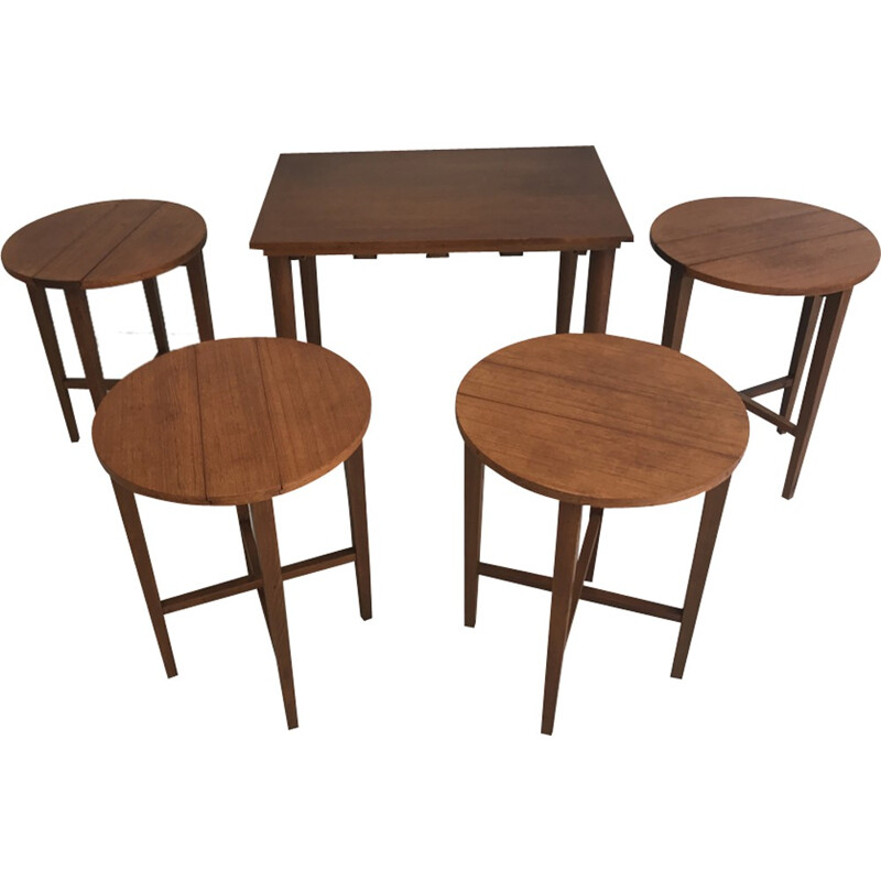 Set of 4 mid-century nesting tables in wood, England - 1960s
