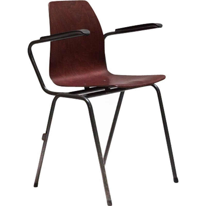 German wood Pagholz armchairs with steel legs - 1960s