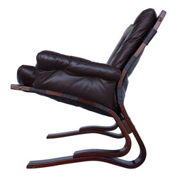 Brown leather armchair, Ingmar RELLING - 1960s