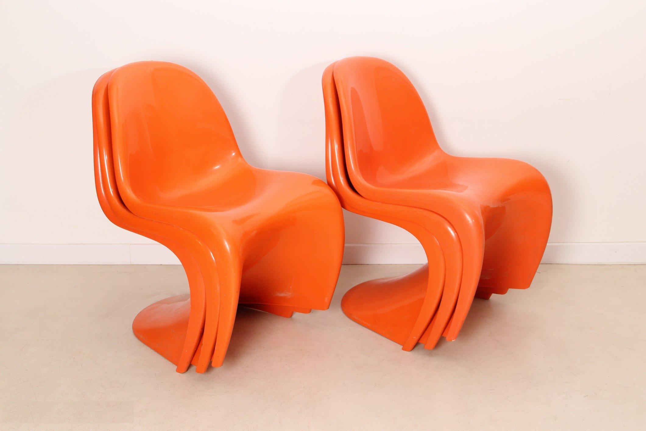 Suite Of 6 Orange Quot Panton Quot Chairs Verner Panton 1972