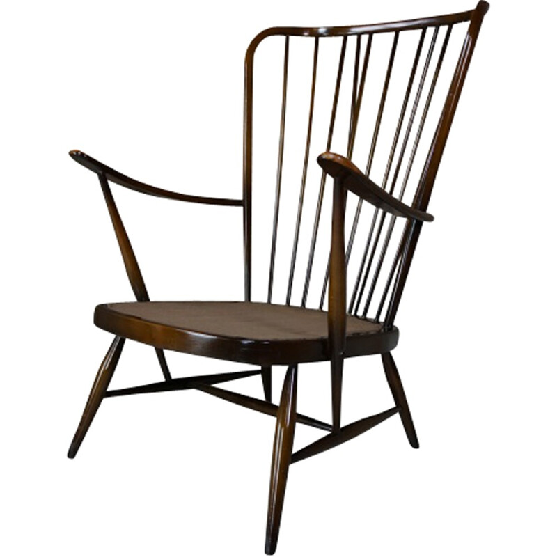 Armchair in elm and fabric by Lucian Ercolani - 1950s