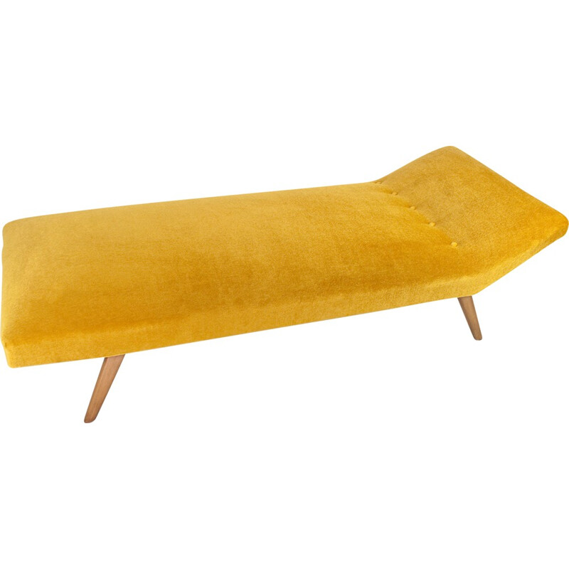 Gold daybed in mohair and wood - 1950s