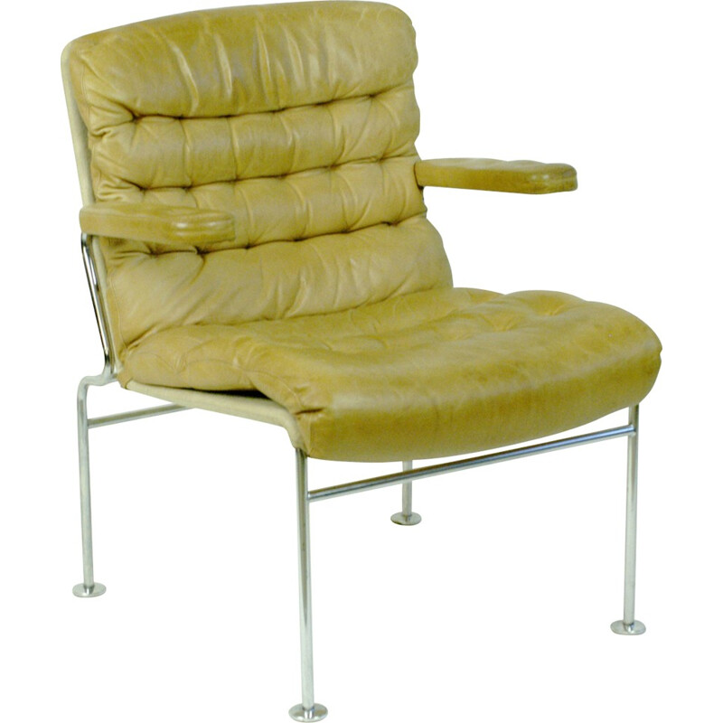 Beige Birgitta armchair in leather and chromium by Bruno Mathsson - 1960s