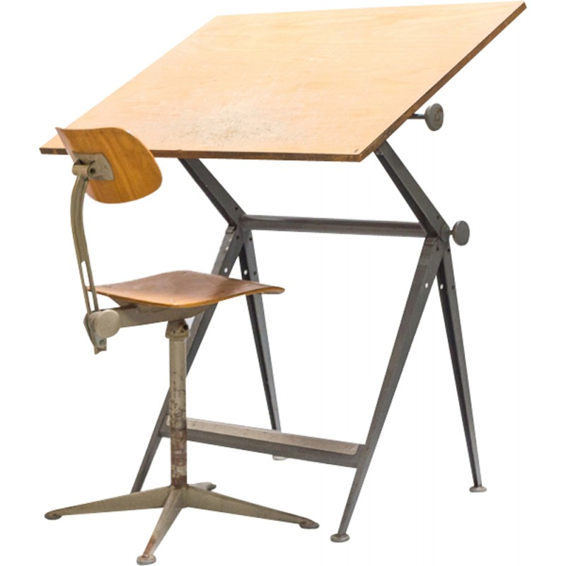 Vintage Drawing Board In Plywood And Metal Produced By Friso Kramer   1960s