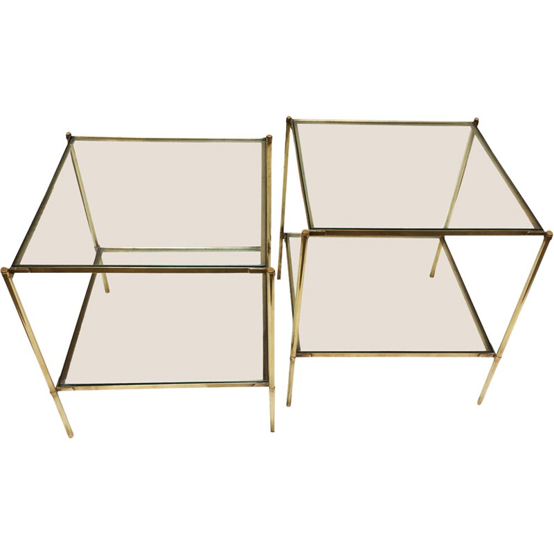Pair of brass and glass ends of sofa - 1960s