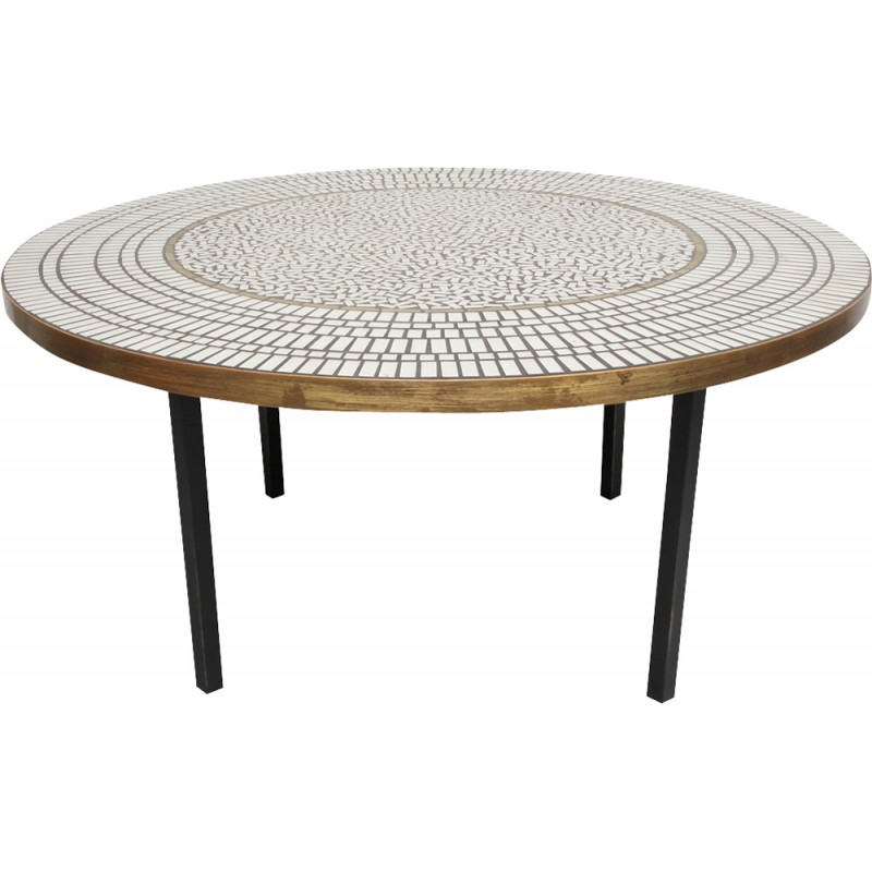 French Market Coffee Table: Round Coffee Table With Mosaic Top