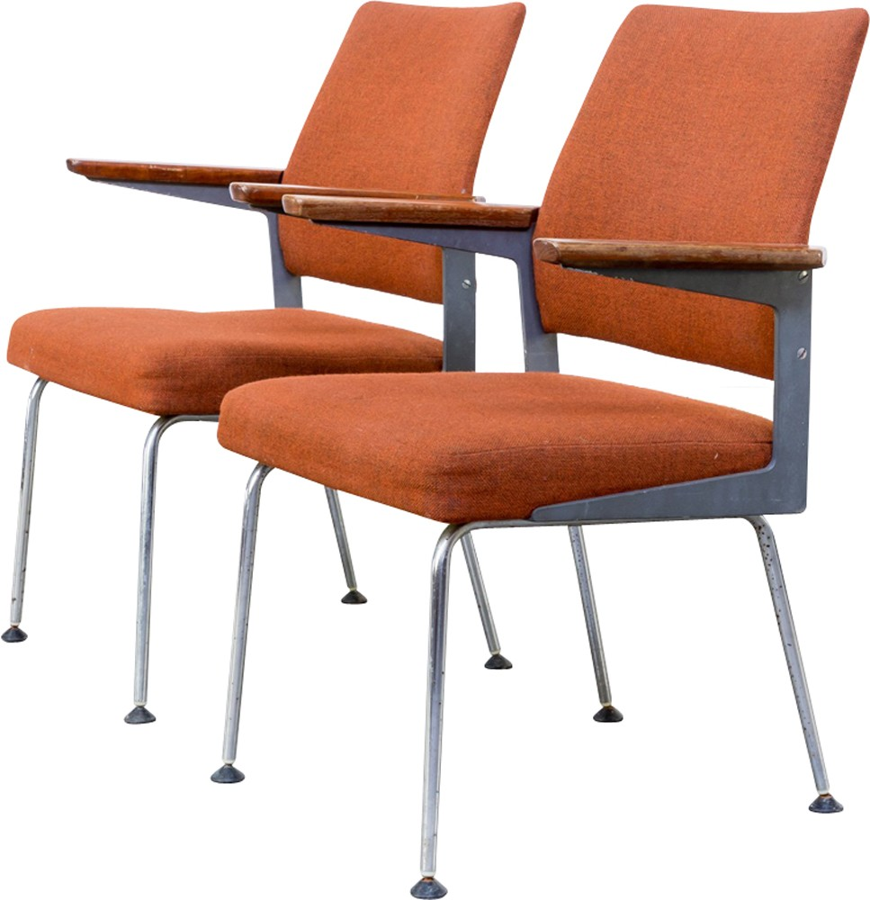 pair of mid century office chairs with metal frame 1960s