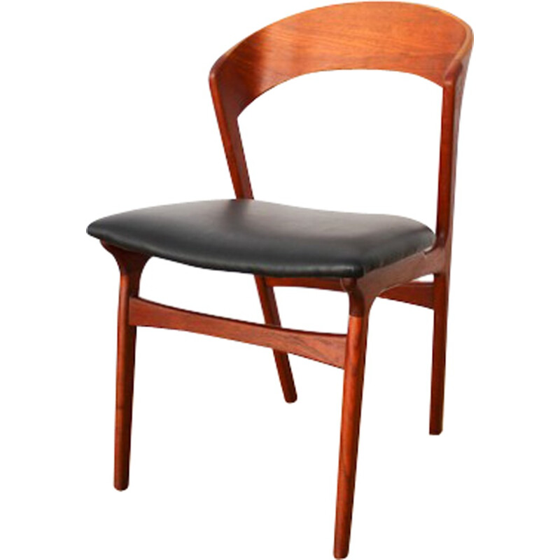 Leatherette and teak table chair by Kai Kristiansen - 1960s