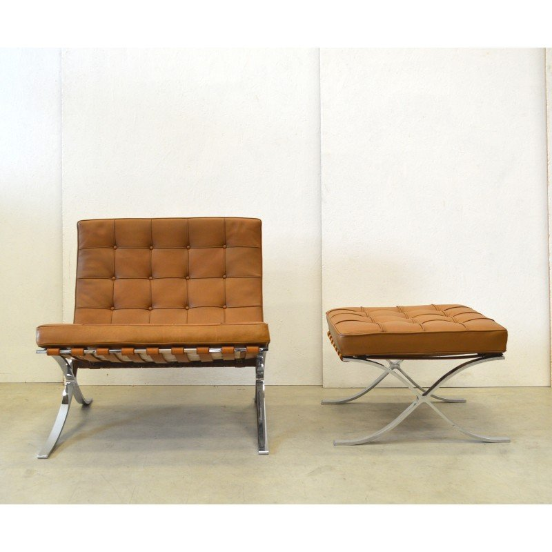 Barcelona Armchair With Ottoman By Knoll International   1960s. Vintage  Design Furniture. Previous