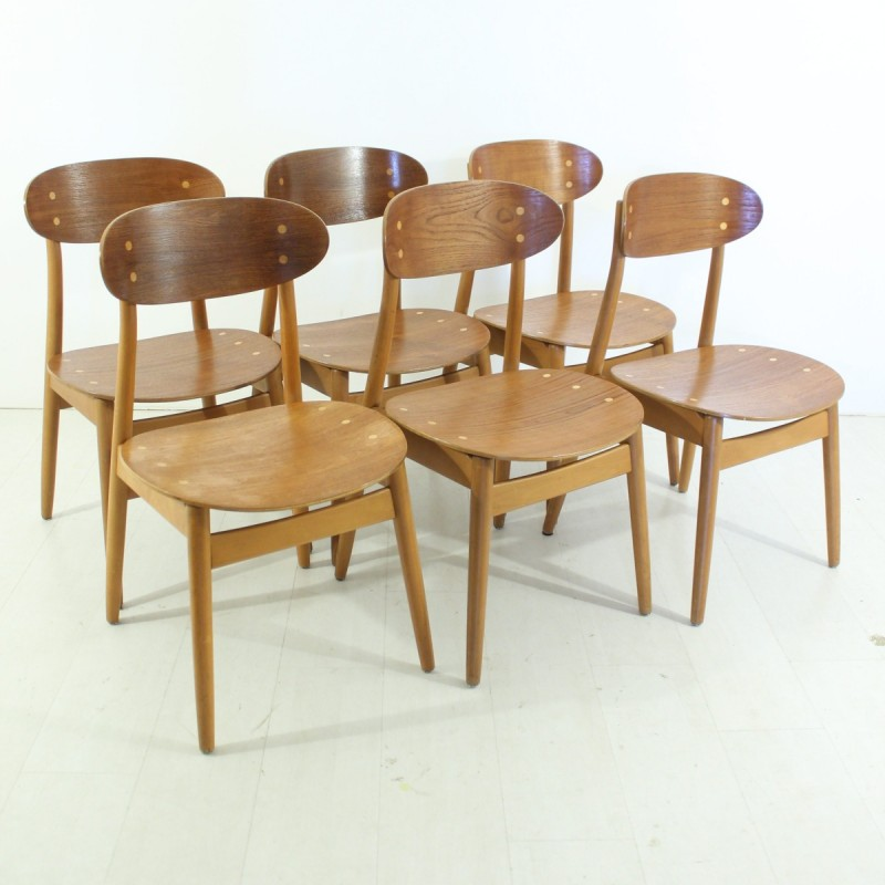 3be98cee7e0b6 Set of 6 swedish dining chairs by Alf Svensson for Hagen Fors ...