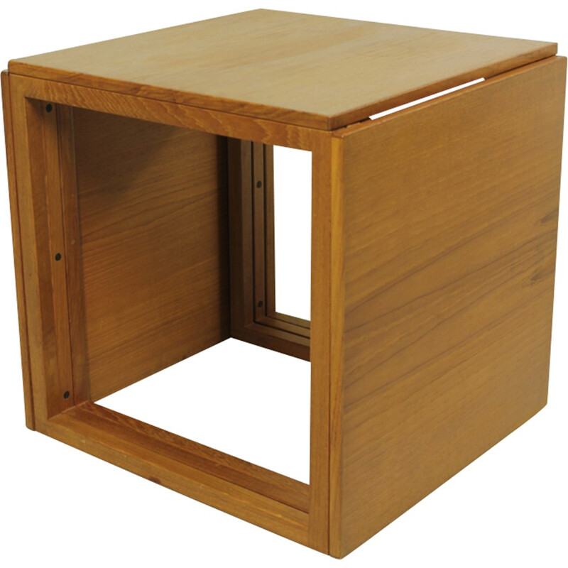 Set of 3 nesting tables forming a cube in teak by Kai Kristiansen - 1960s
