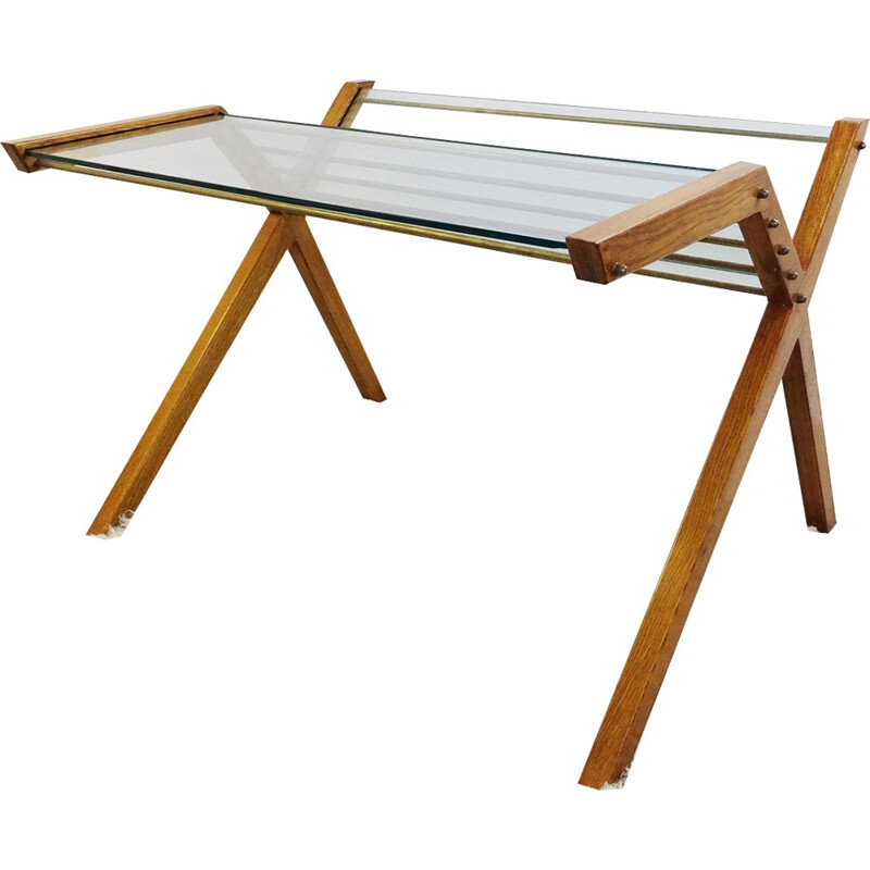 Elm wooden desk by Marco Zanuso - 1960s