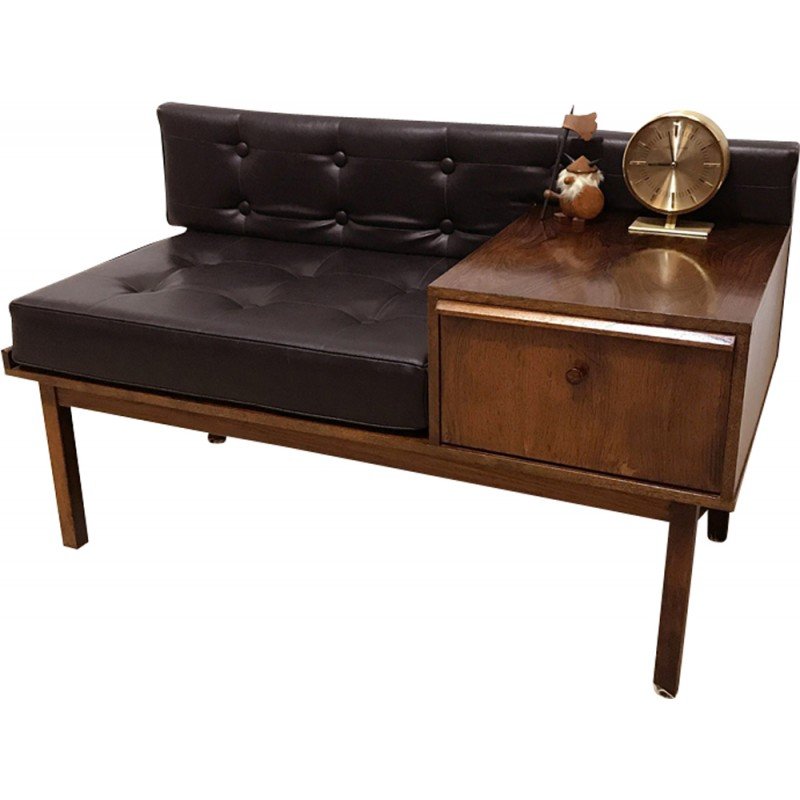 Vintage Chippy Rosewood Telephone Bench 1960s Design Market