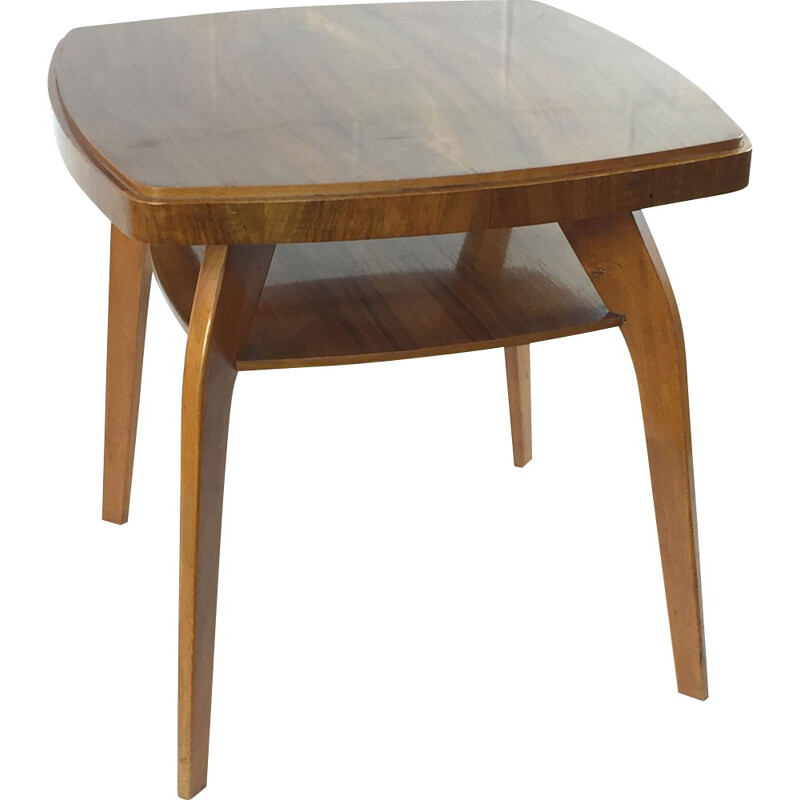 Mid century side table in wood with double tray - 1930s