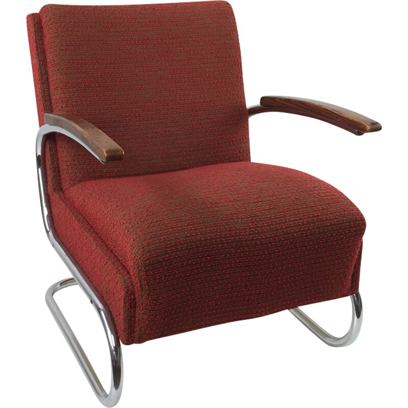 Pair of red modernist tubular armchairs in chromium and fabric by Robert Slezak - 1930s
