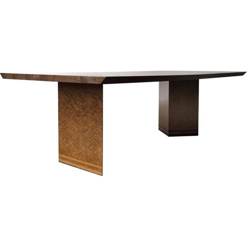 Saporiti dining table in bird's eye maple by Giovanni Offredi - 1960s