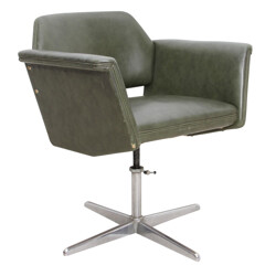 Armchair in green leather, Joseph-André MOTTE - 1950s