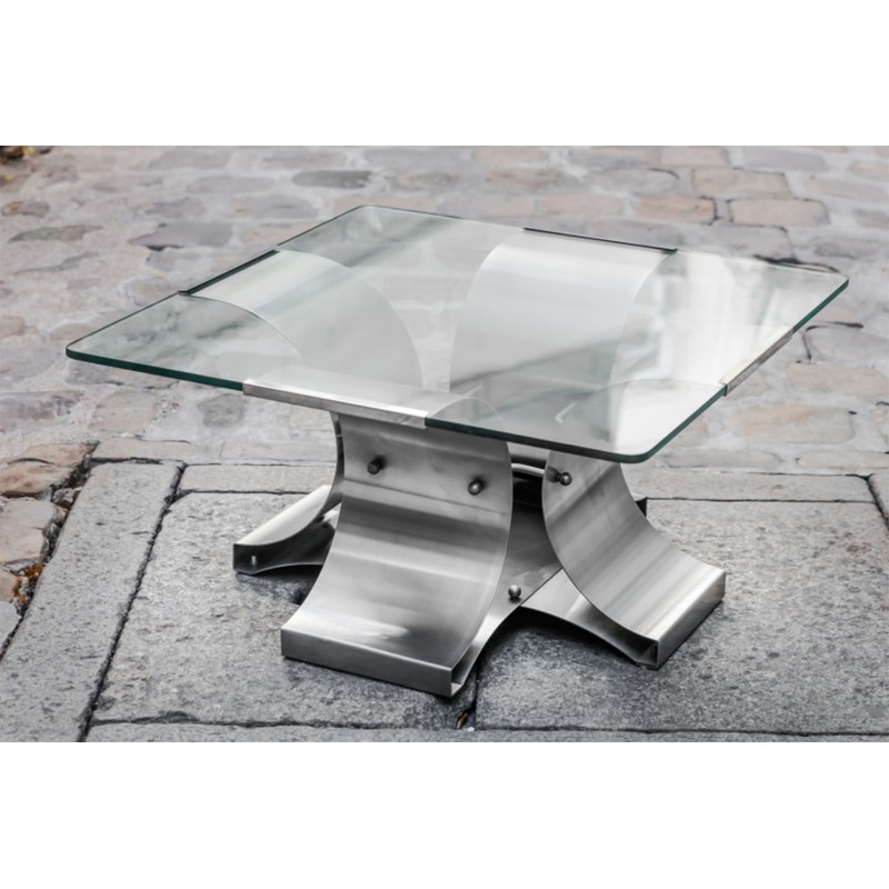 Brushed Steel Sheet And Glass Coffee Table By François Monnet Design Market